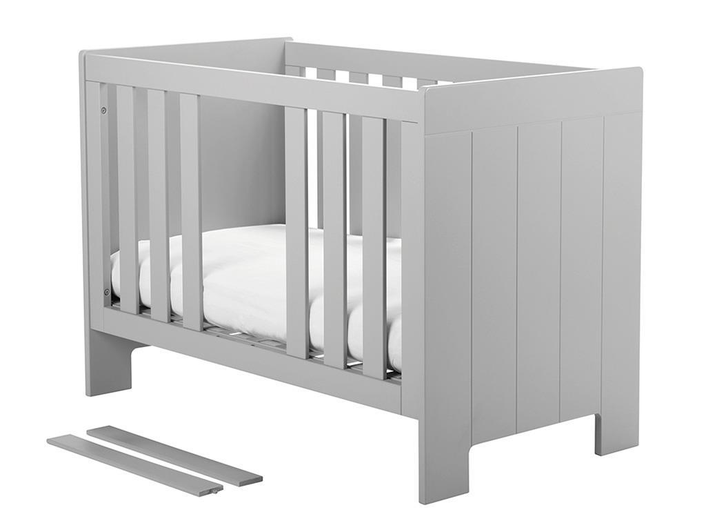 pinio calmo babybett grau 60x120cm lattenrost 3x. Black Bedroom Furniture Sets. Home Design Ideas