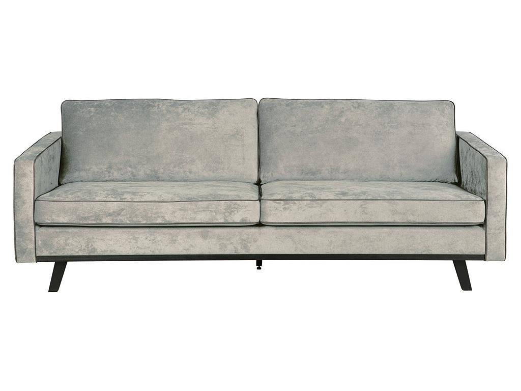 BEPUREHOME Rebel Retro Sofa 3-Sitzer verwittertes Grün Velour-Optik 800648-G