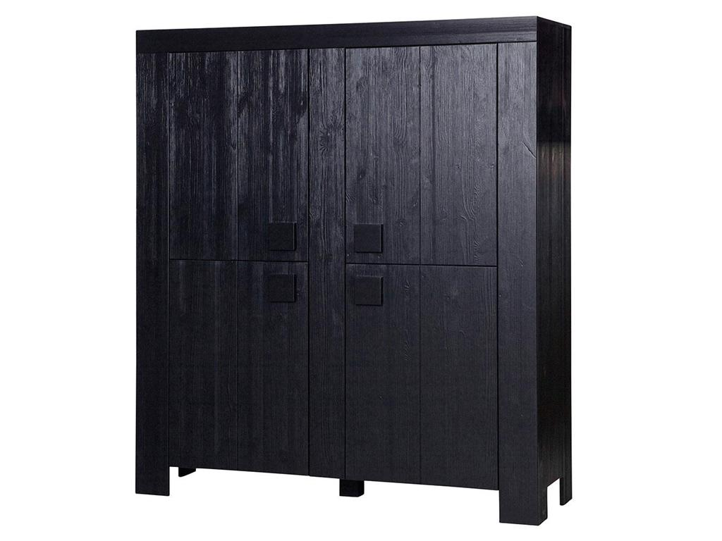 woood schrank mit 4 t ren schwarz kiefer geb rstet 160x140x46cm dirk. Black Bedroom Furniture Sets. Home Design Ideas