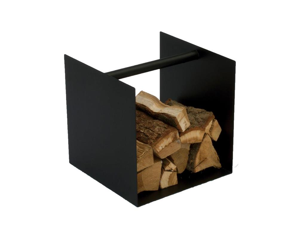 spinder box kaminholz aufbewahrung stahl schwarz struktur 40x40x40cm. Black Bedroom Furniture Sets. Home Design Ideas