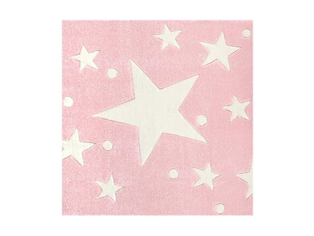 livone happy rugs teppich stars rosa wei 140x140cm. Black Bedroom Furniture Sets. Home Design Ideas