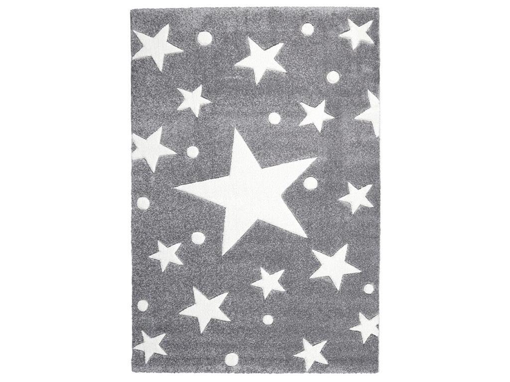 livone happy rugs teppich stars silbergrau wei 120x180cm. Black Bedroom Furniture Sets. Home Design Ideas