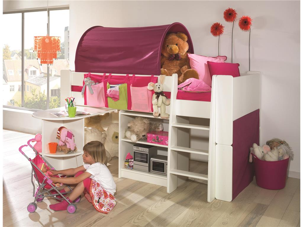 steens for kids halbhoch bett mit schreibtisch gerader leiter und rolllattenr. Black Bedroom Furniture Sets. Home Design Ideas