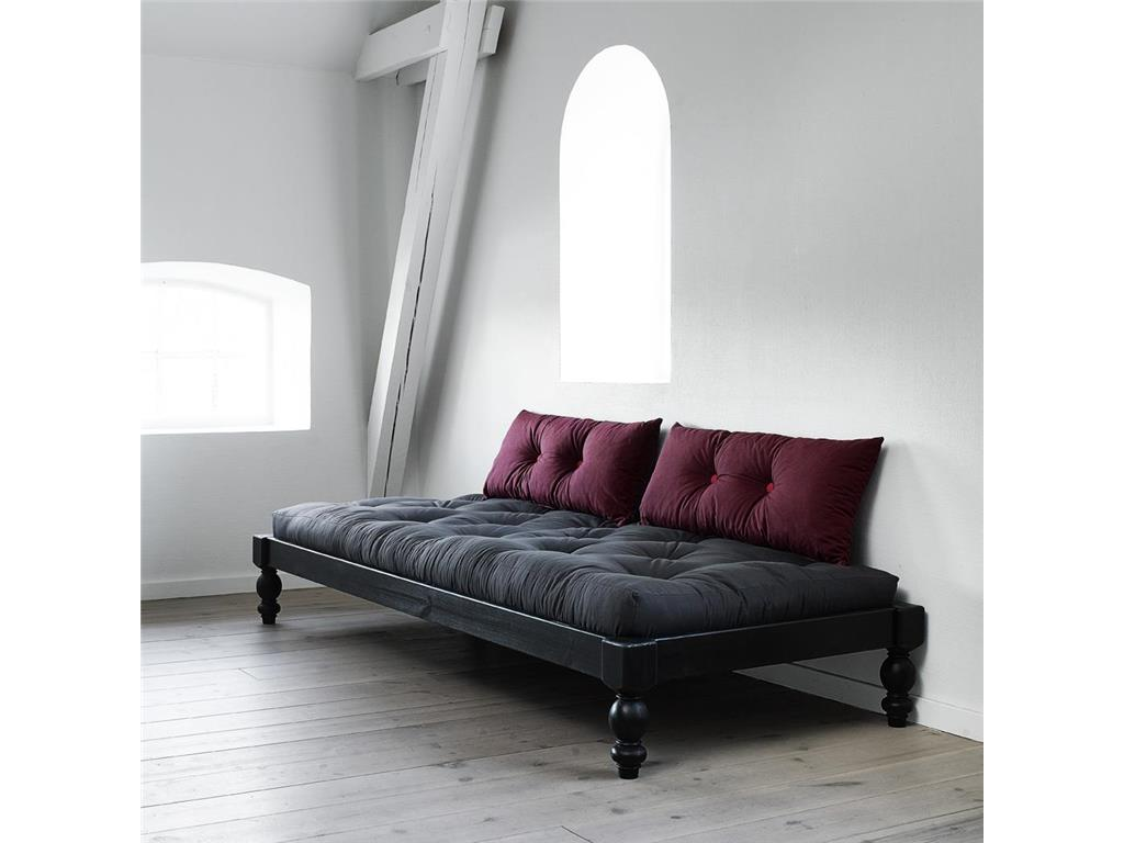 karup futon comfort matratze schwarz 80x200 mit knopfsteppung. Black Bedroom Furniture Sets. Home Design Ideas