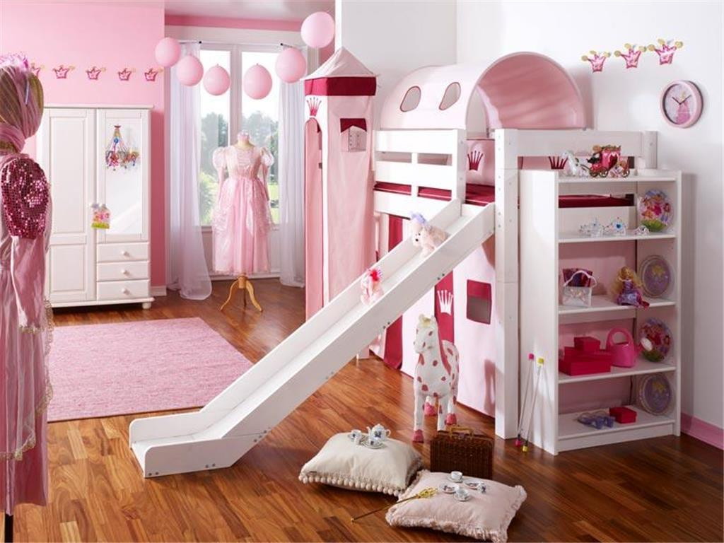 kinderbett hochbett mit rutsche leiter hochbett spielbett kiefer massiv weiss oder unbehandelt. Black Bedroom Furniture Sets. Home Design Ideas