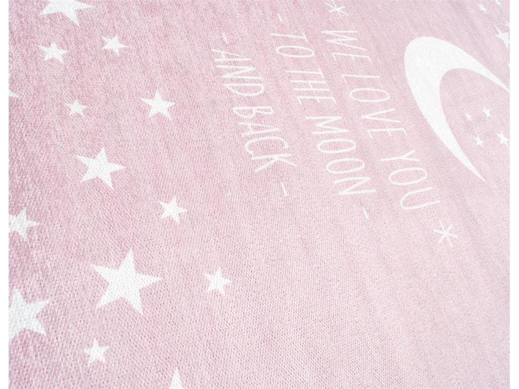 livone happy rugs love you moon teppich rosa wei 140x190cm. Black Bedroom Furniture Sets. Home Design Ideas