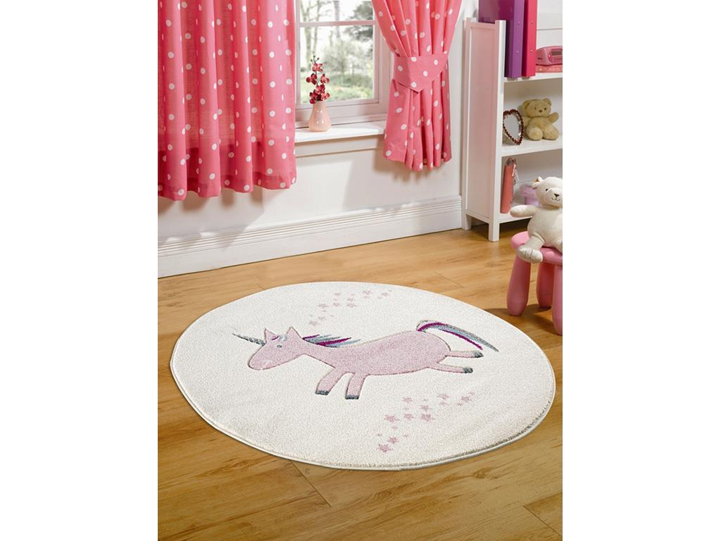 livone happy rugs teppich einhorn rosa rund 133cm. Black Bedroom Furniture Sets. Home Design Ideas