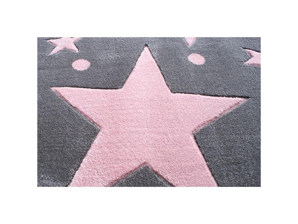 livone happy rugs teppich stars silbergrau rosa 120x180cm. Black Bedroom Furniture Sets. Home Design Ideas