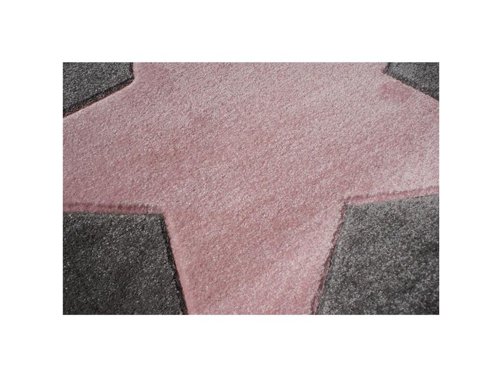 livone happy rugs teppich star rund silbergrau rosa 133cm. Black Bedroom Furniture Sets. Home Design Ideas