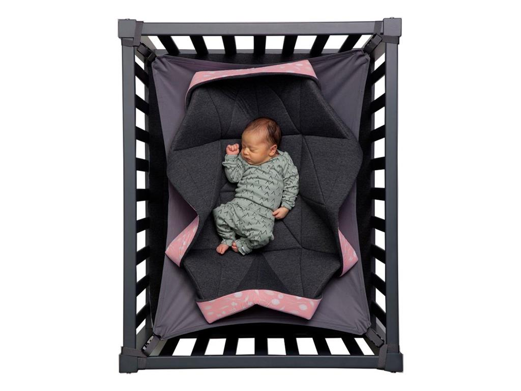 hangloose baby h ngematte f r laufgitter dunkelgrau pink. Black Bedroom Furniture Sets. Home Design Ideas