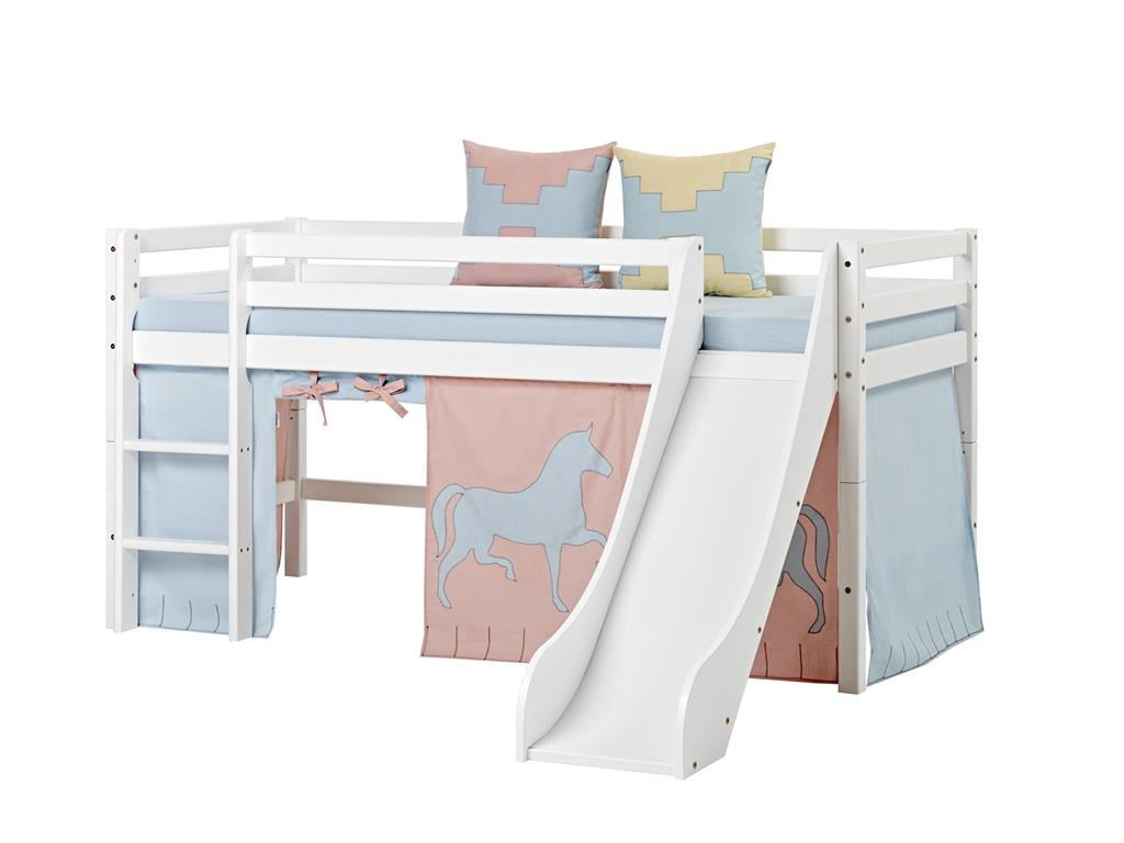 hoppekids halbhohes bett wei mit rutsche gerade leiter und rollrost hoppekids basic. Black Bedroom Furniture Sets. Home Design Ideas