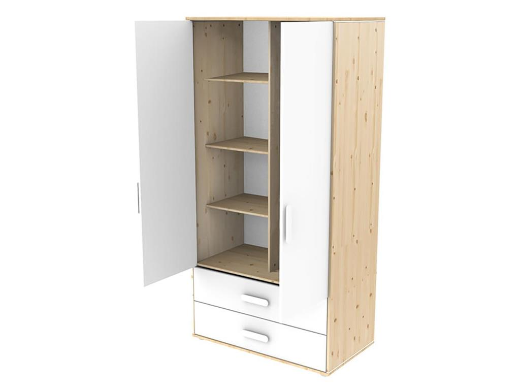 flexa n st kleiderschrank natur lackiert mit 2 t ren und 2 schubladen. Black Bedroom Furniture Sets. Home Design Ideas