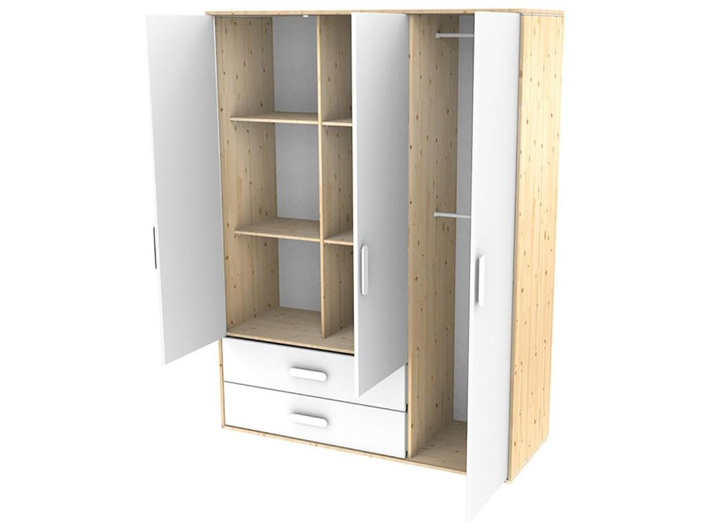 flexa n st kleiderschrank natur lackiert mit 3 t ren und 2 schubladen. Black Bedroom Furniture Sets. Home Design Ideas