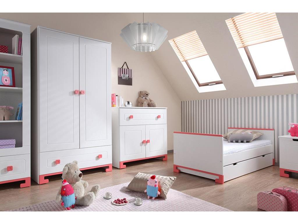 pinio toto jugendbett wei rosa 90x200cm. Black Bedroom Furniture Sets. Home Design Ideas