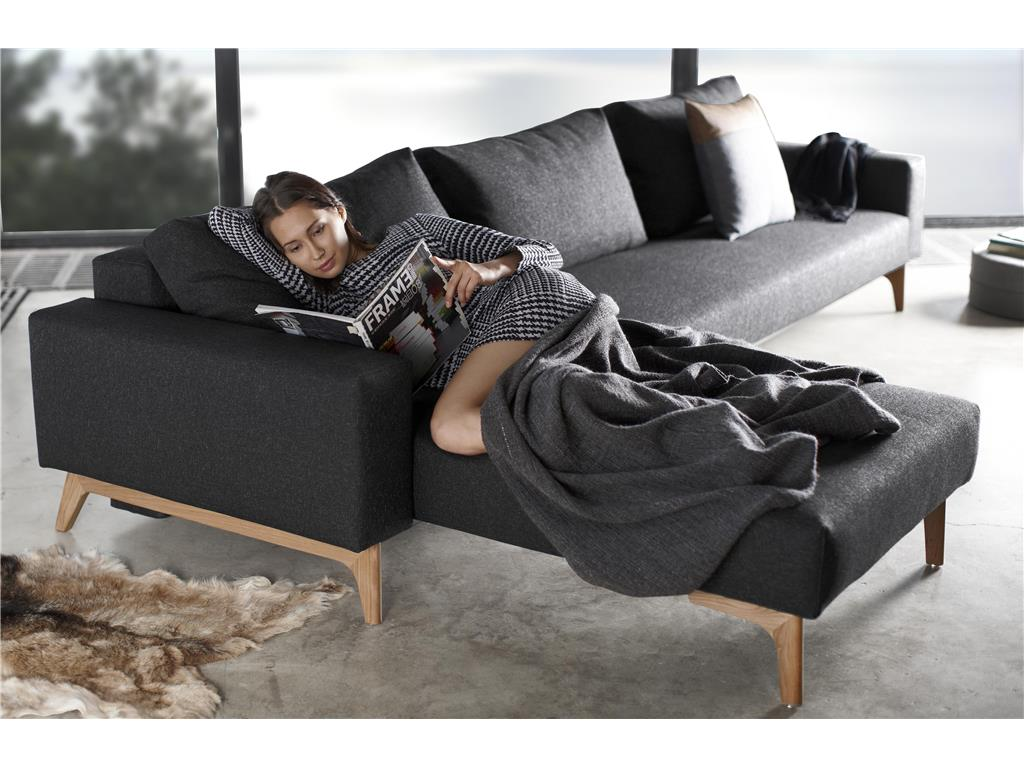 innovation schlafsofa idun mit lounger schwarz. Black Bedroom Furniture Sets. Home Design Ideas