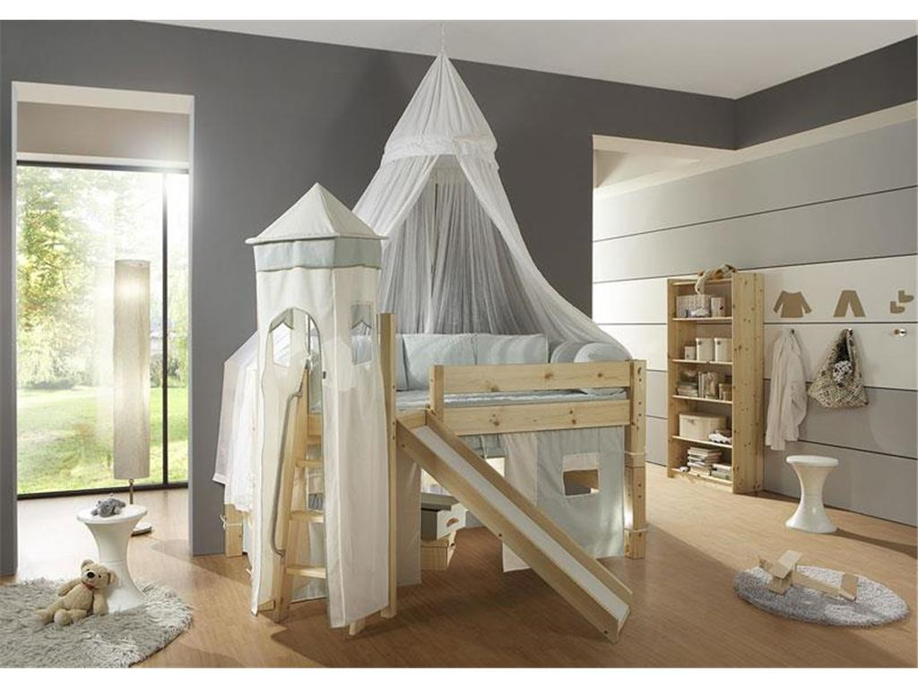 dolphin moby spielbett mit rutsche podest und schr ger leiter kiefer. Black Bedroom Furniture Sets. Home Design Ideas
