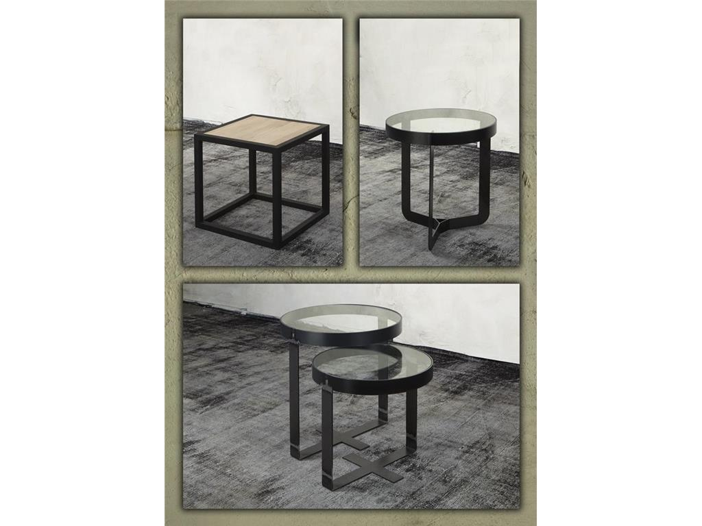 spinder douglas beistelltisch platte glas rahmen stahl schwarz 46x50cm. Black Bedroom Furniture Sets. Home Design Ideas