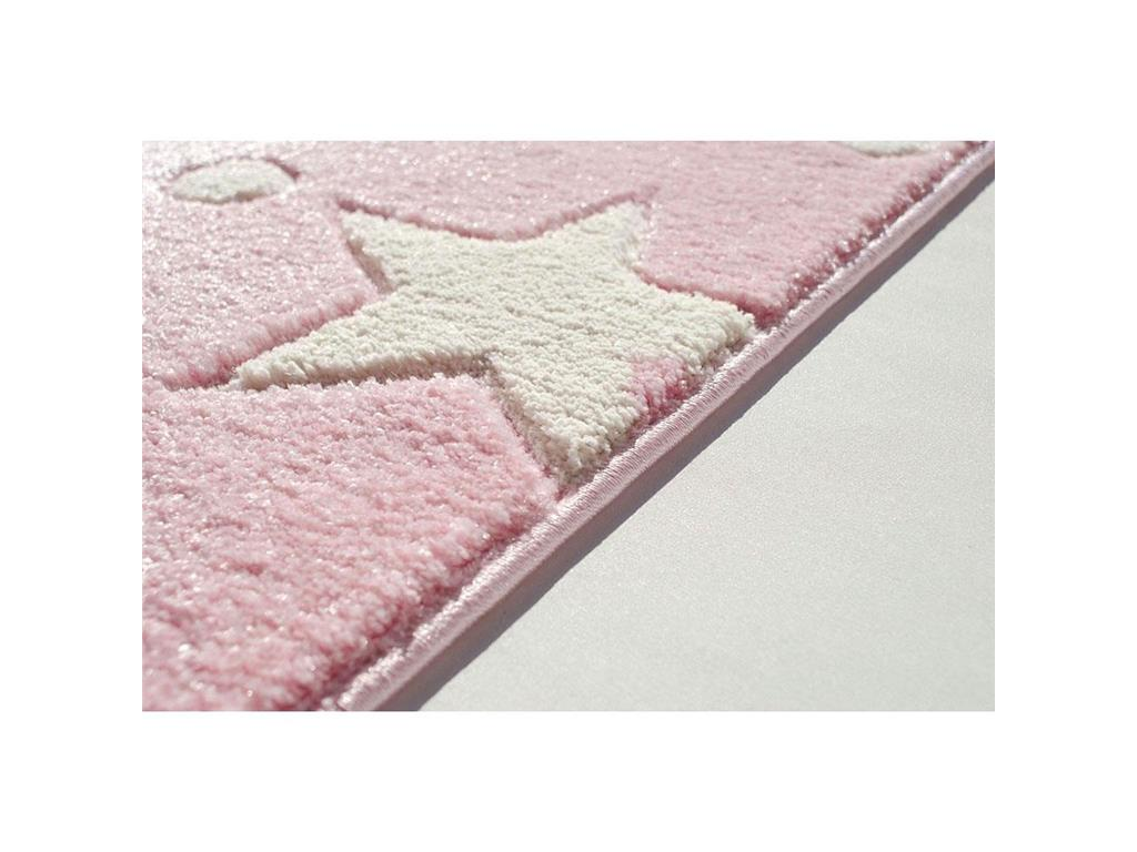 livone happy rugs teppich stars rosa wei 160x230cm. Black Bedroom Furniture Sets. Home Design Ideas