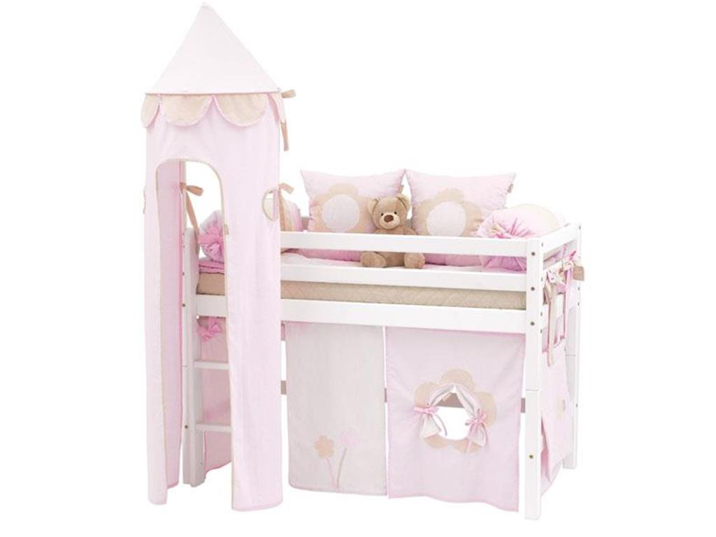 hoppekids fairytale flower vorhang f r spielbett oder etagenbett 70x160cm. Black Bedroom Furniture Sets. Home Design Ideas