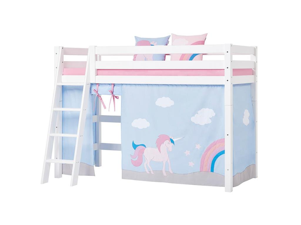 hoppekids unicorn vorhang f r hochbett midisleeper etagenbett 90x200cm. Black Bedroom Furniture Sets. Home Design Ideas