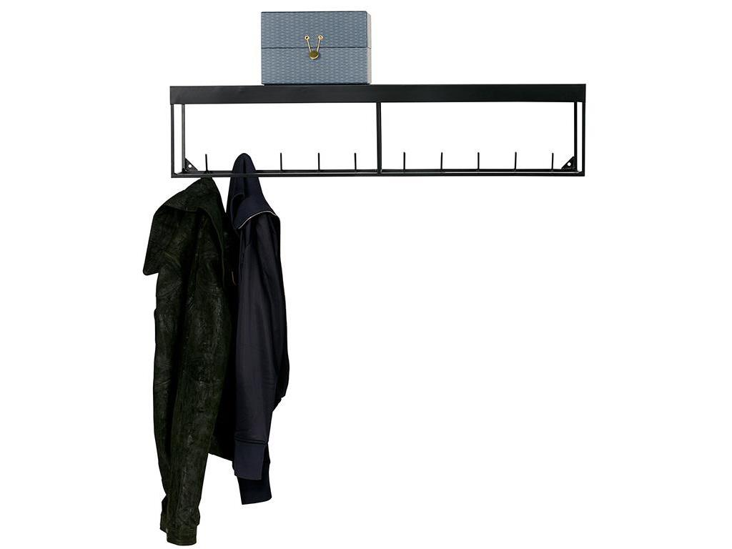 woood meert wandgarderobe metall schwarz mit ablage 90cm. Black Bedroom Furniture Sets. Home Design Ideas