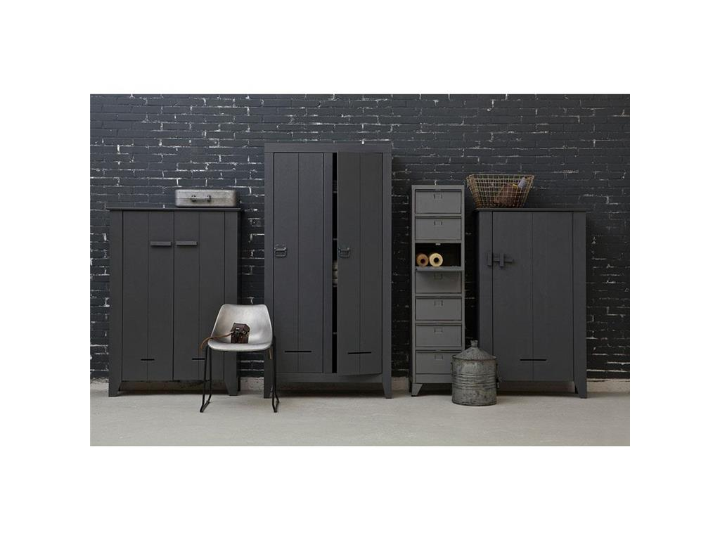 woood cabinet metall mit 7 f chern vintage grau spind kommode. Black Bedroom Furniture Sets. Home Design Ideas
