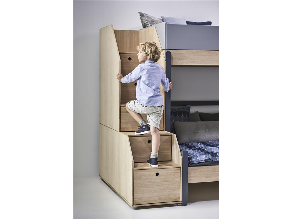 flexa popsicle 3er etagenbett mit stauraum treppe blueberry 90x200cm. Black Bedroom Furniture Sets. Home Design Ideas