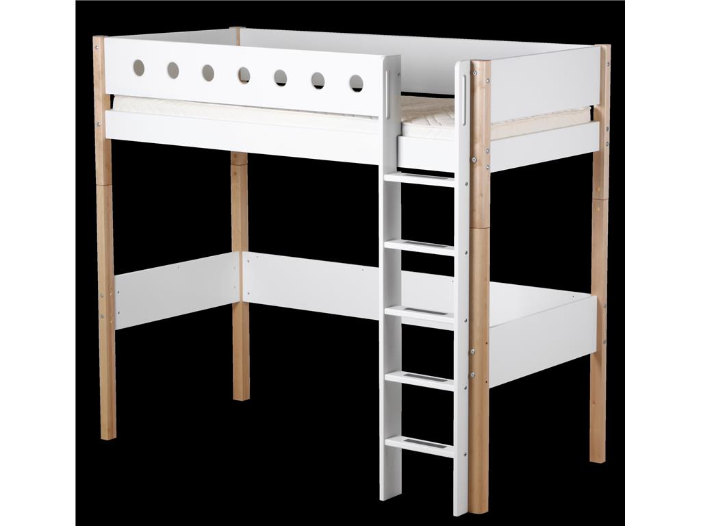 flexa white umbausatz f r hochbett 90x190cm gerade leiter und pfosten. Black Bedroom Furniture Sets. Home Design Ideas