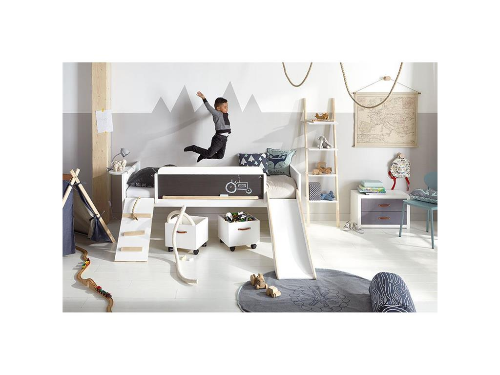 lifetime kidsroom lifetime original halbhoch bett mit rutsche und laufplanke play learn and. Black Bedroom Furniture Sets. Home Design Ideas