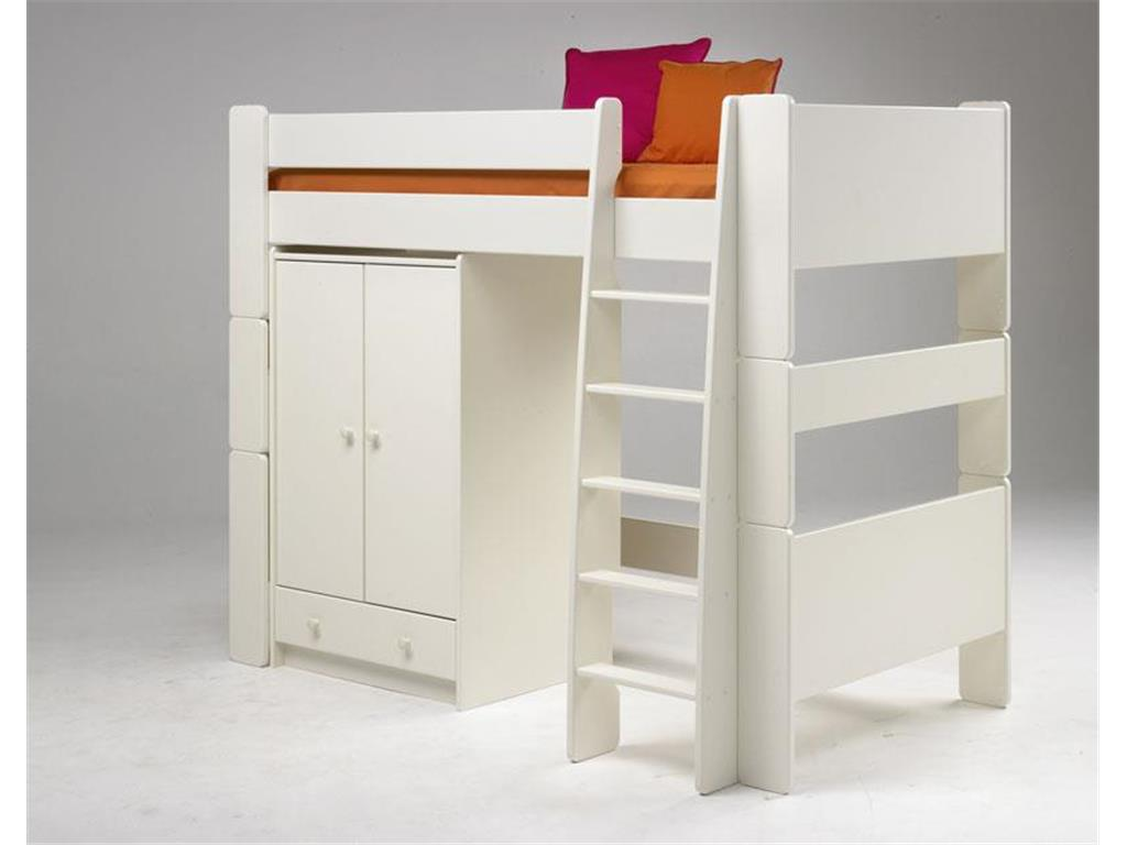 for kids hochbett mit gerader leiter mdf wei. Black Bedroom Furniture Sets. Home Design Ideas