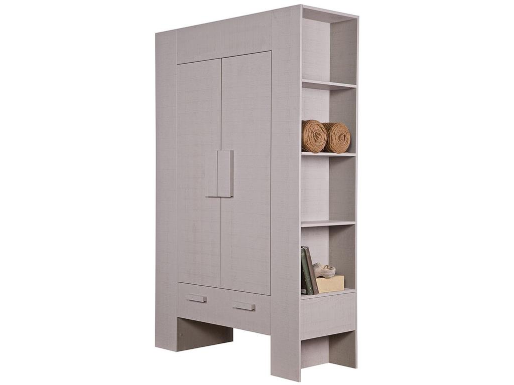 woood hidde schrank mit seitlichen regalen 2 t ren 1 schublade taupe kiefer. Black Bedroom Furniture Sets. Home Design Ideas