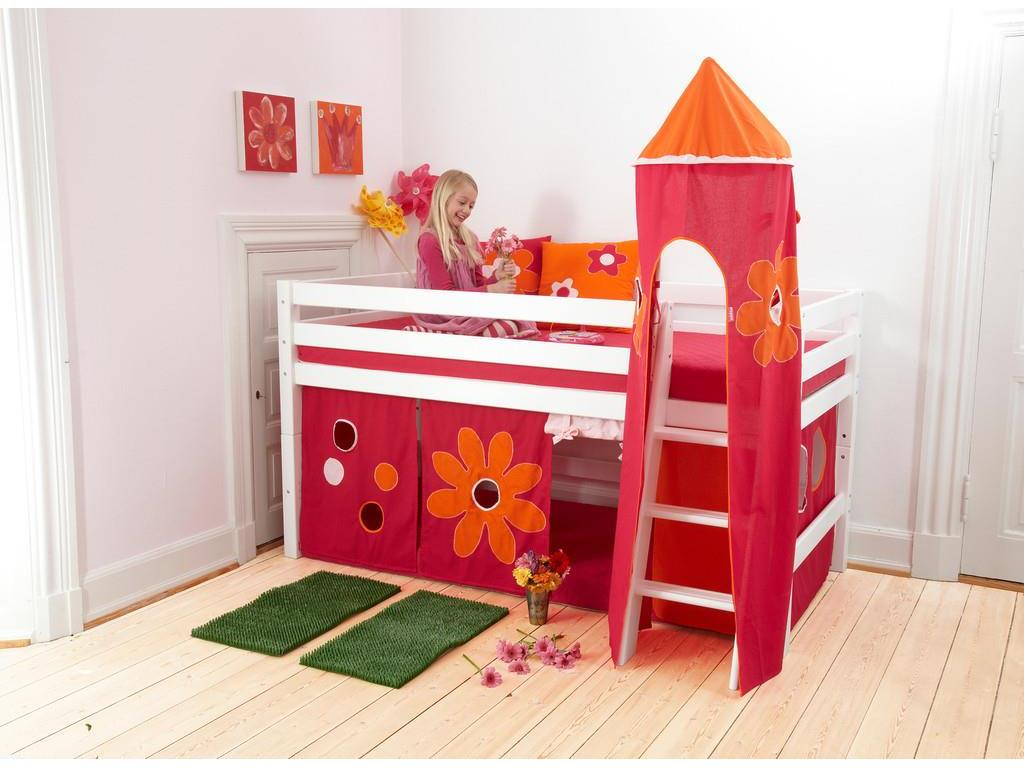 hoppekids flower power vorhang f r spielbett und etagenbett 90x200cm hoppekid. Black Bedroom Furniture Sets. Home Design Ideas