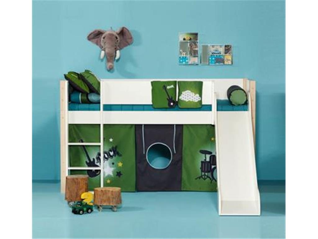manis h hochbett buche wei mit rutsche spielbett inkl. Black Bedroom Furniture Sets. Home Design Ideas
