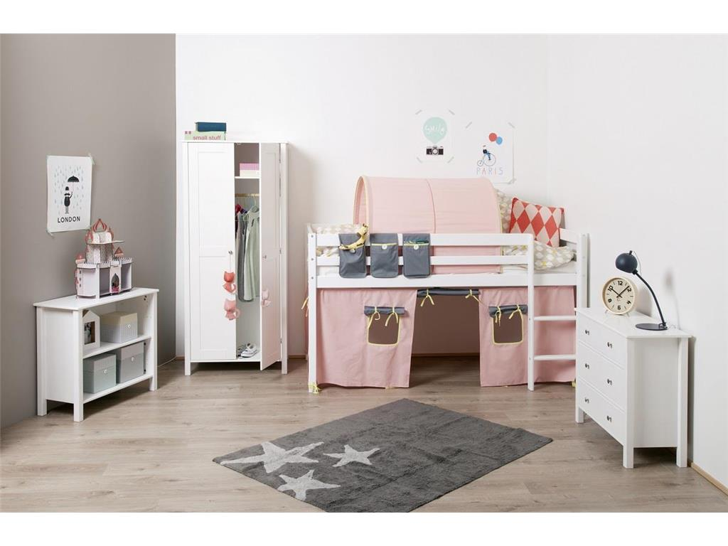 flexa basic vorhang f r kinderbett rosa grau h he 73cm flexa basic. Black Bedroom Furniture Sets. Home Design Ideas