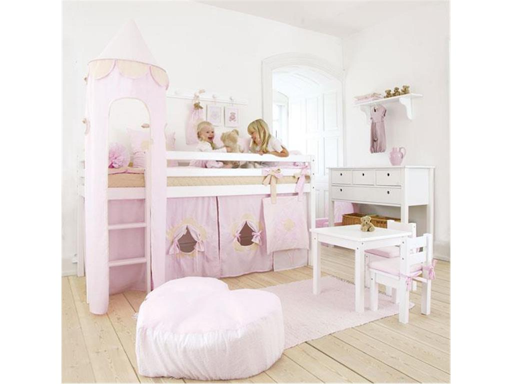 hoppekids basic halbhoch bett wei mit gerader leiter und rolllattenrost. Black Bedroom Furniture Sets. Home Design Ideas