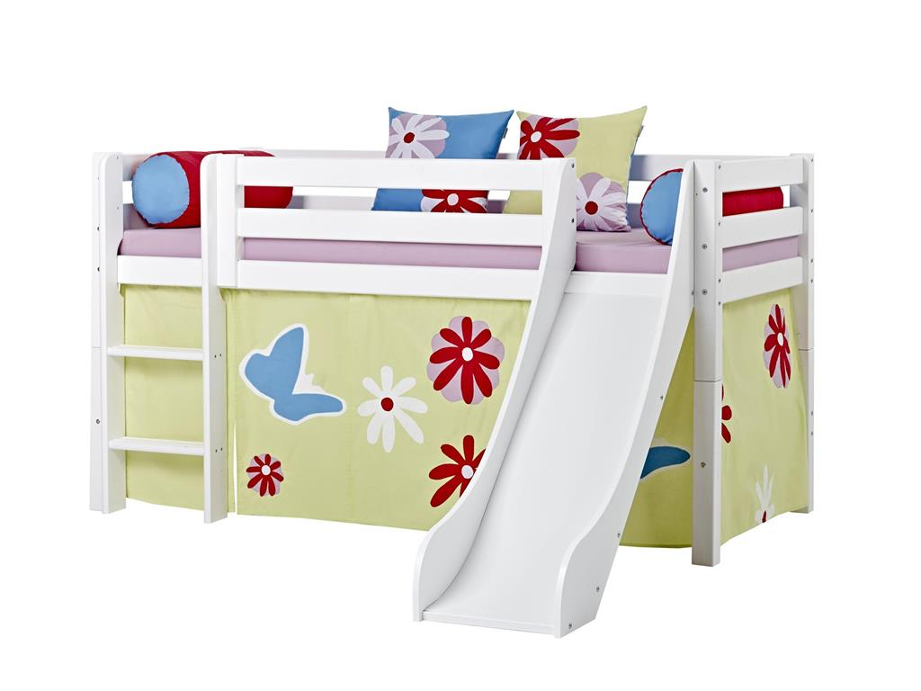 hoppekids premium halbhoch bett mit rutsche gerader leiter und lattenrost. Black Bedroom Furniture Sets. Home Design Ideas